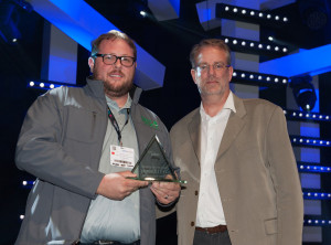 Sean Dane accepts PLASA Innovation Award at PLASALondon 2014