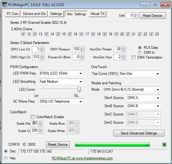 RC4MagicPC Series 3 Advanced Settings Tab