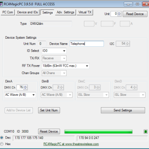 RC4MagicPC S3 Settings Tab